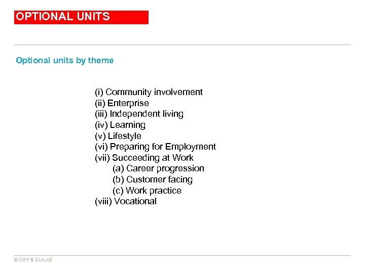 OPTIONAL UNITS Optional units by theme (i) Community involvement (ii) Enterprise (iii) Independent living