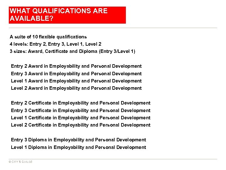 WHAT QUALIFICATIONS ARE AVAILABLE? A suite of 10 flexible qualifications 4 levels: Entry 2,