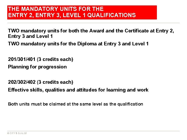 THE MANDATORY UNITS FOR THE ENTRY 2, ENTRY 3, LEVEL 1 QUALIFICATIONS TWO mandatory