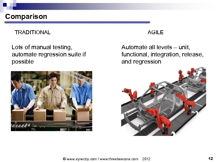 Comparison TRADITIONAL AGILE Lots of manual testing, automate regression suite if possible Automate all