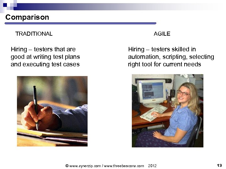 Comparison TRADITIONAL AGILE Hiring – testers that are good at writing test plans and