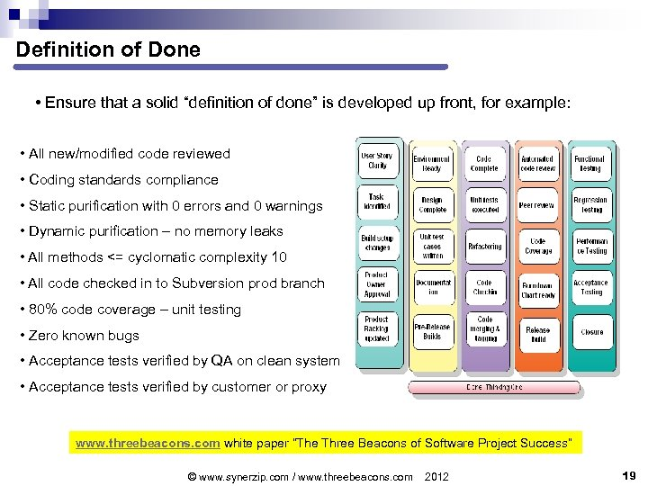 """Definition of Done • Ensure that a solid """"definition of done"""" is developed up"""