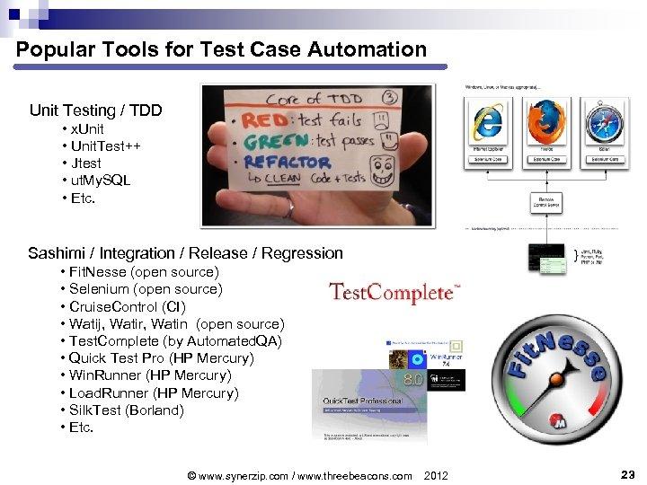 Popular Tools for Test Case Automation Unit Testing / TDD • x. Unit •
