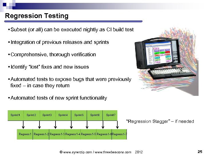 Regression Testing • Subset (or all) can be executed nightly as CI build test