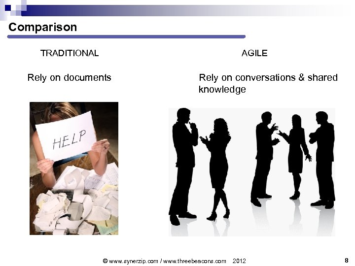 Comparison TRADITIONAL AGILE Rely on documents Rely on conversations & shared knowledge © www.