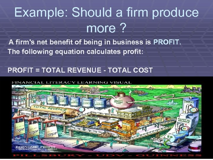 Example: Should a firm produce more ? A firm's net benefit of being in