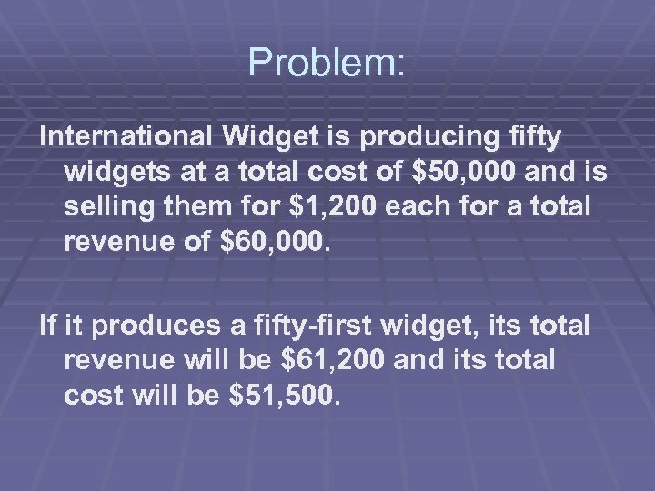 Problem: International Widget is producing fifty widgets at a total cost of $50, 000