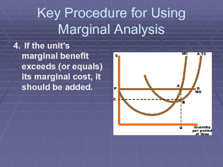 Key Procedure for Using Marginal Analysis 4. If the unit's marginal benefit exceeds (or