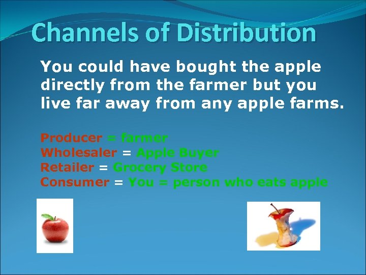 Channels of Distribution You could have bought the apple directly from the farmer but