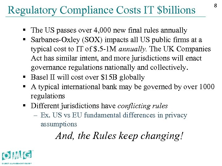 Regulatory Compliance Costs IT $billions 88 § The US passes over 4, 000 new