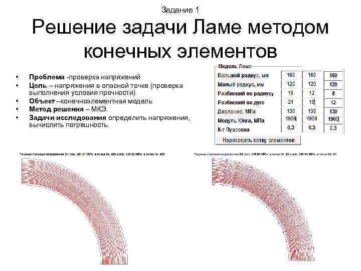 Задание 1 Решение задачи Ламе методом конечных элементов • • • Проблема -проверка напряжений
