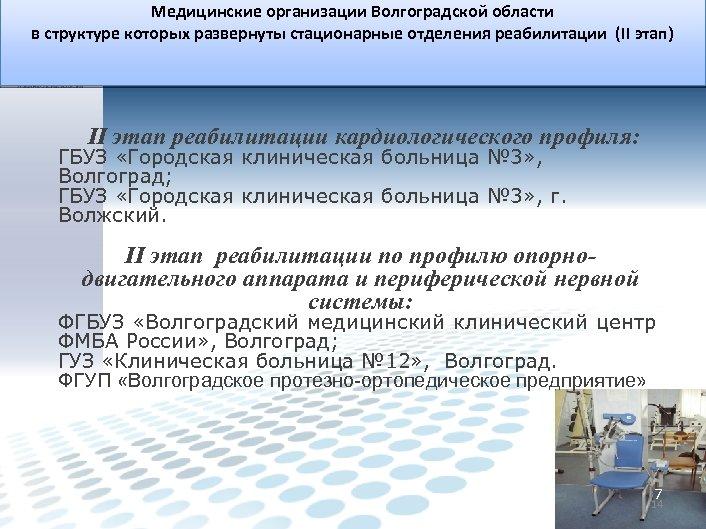 Медицинские организации Волгоградской области в структуре которых развернуты стационарные отделения реабилитации (II этап) II