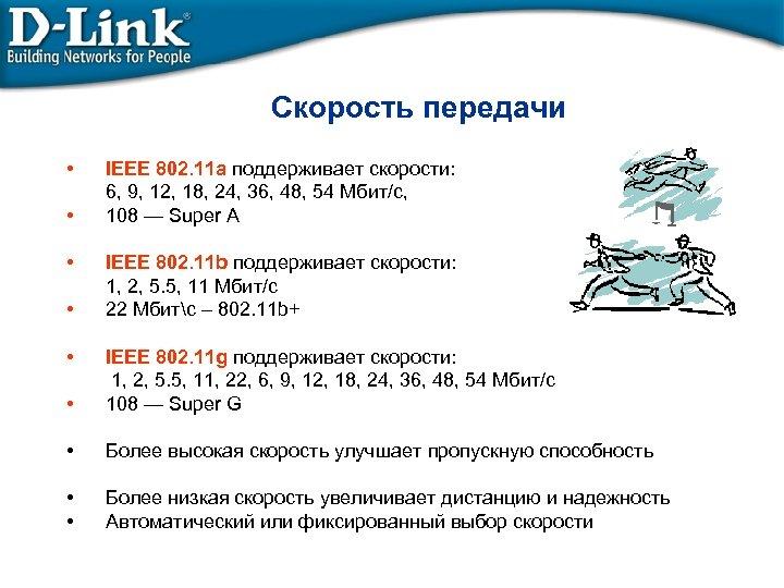 Скорость передачи • • • IEEE 802. 11 a поддерживает скорости: 6, 9, 12,