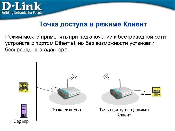 Точка доступа в режиме Клиент Режим можно применять при подключении к беспроводной сети устройств