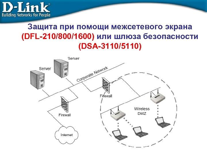 Защита при помощи межсетевого экрана (DFL-210/800/1600) или шлюза безопасности (DSA-3110/5110)