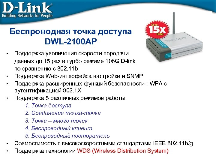Беспроводная точка доступа DWL-2100 AP • • • Поддержка увеличения скорости передачи данных до