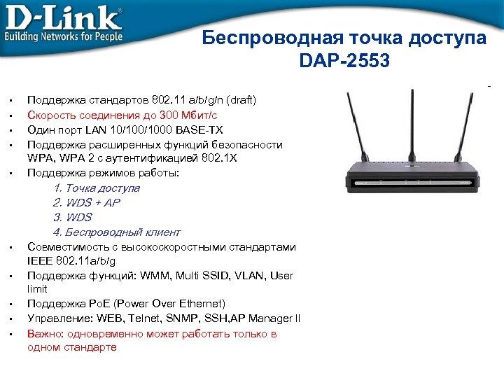 Беспроводная точка доступа DAP-2553 • • • Поддержка стандартов 802. 11 а/b/g/n (draft) Скорость