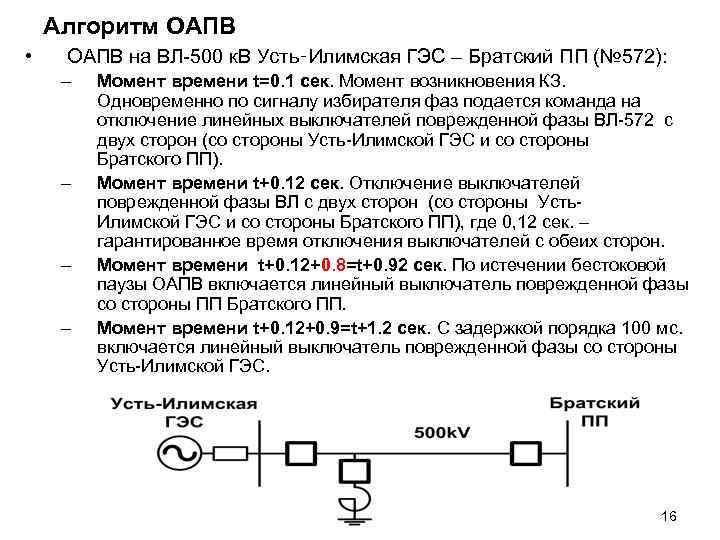 Алгоритм ОАПВ • ОАПВ на ВЛ-500 к. В Усть‑Илимская ГЭС – Братский ПП (№