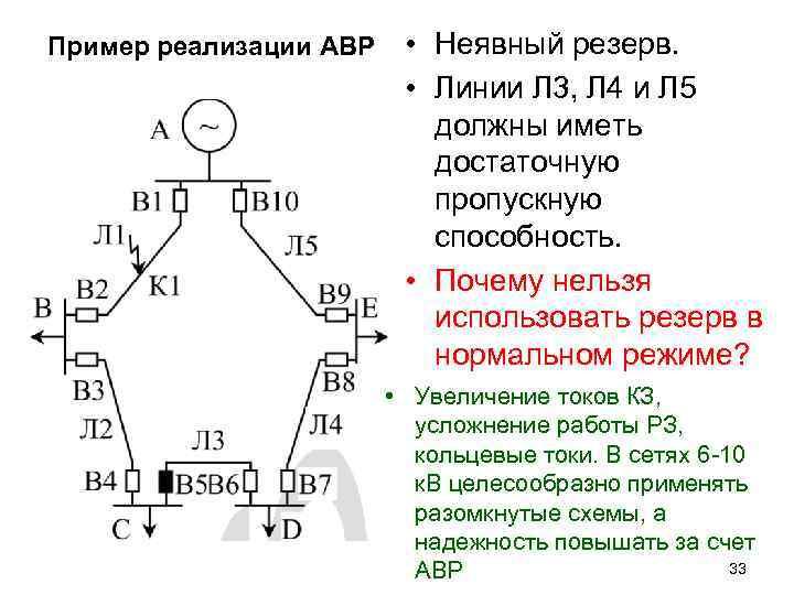 Пример реализации АВР • Неявный резерв. • Линии Л 3, Л 4 и Л