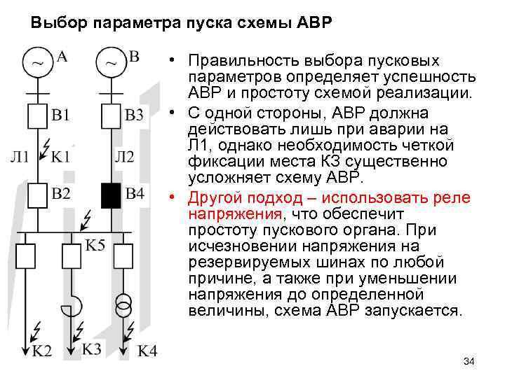 Выбор параметра пуска схемы АВР • Правильность выбора пусковых параметров определяет успешность АВР и
