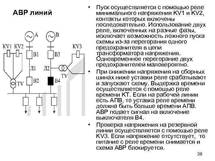 АВР линий • Пуск осуществляется с помощью реле минимального напряжения KV 1 и KV