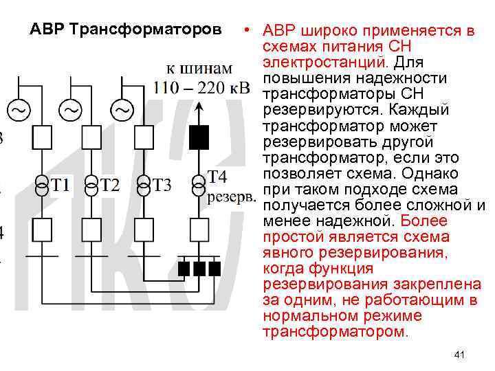 АВР Трансформаторов • АВР широко применяется в схемах питания СН электростанций. Для повышения надежности
