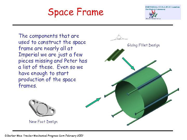Space Frame The components that are used to construct the space frame are nearly