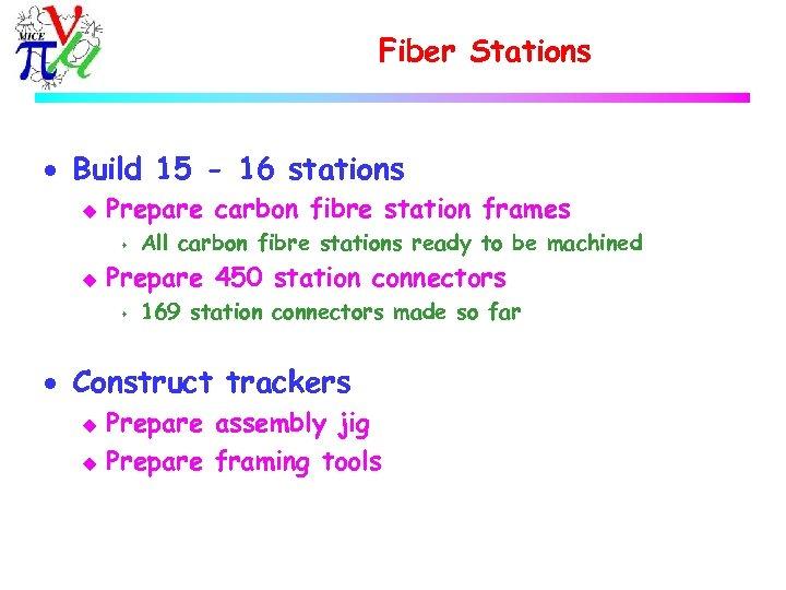 Fiber Stations · Build 15 - 16 stations u Prepare carbon fibre station frames