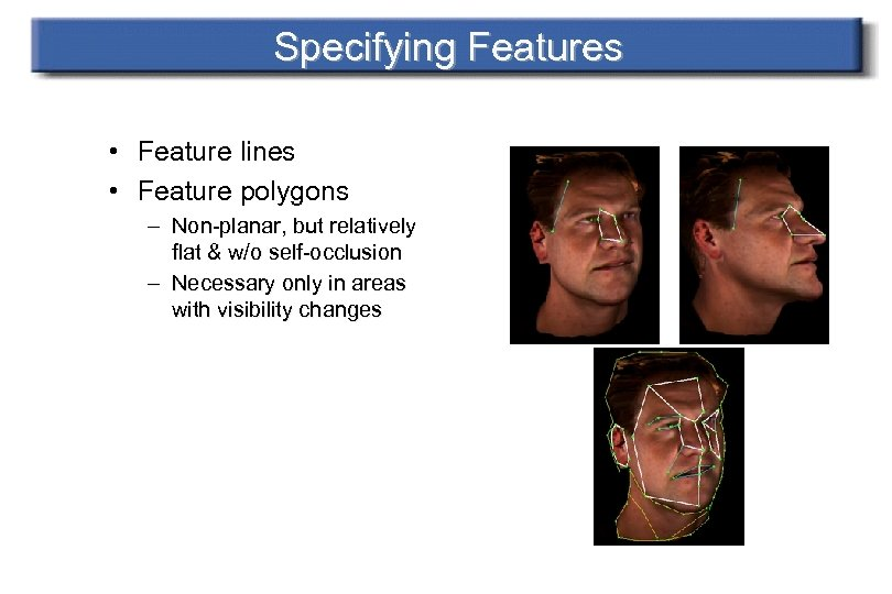 Specifying Features • Feature lines • Feature polygons – Non-planar, but relatively flat &