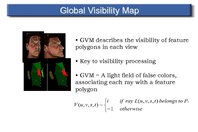 Global Visibility Map • GVM describes the visibility of feature polygons in each view