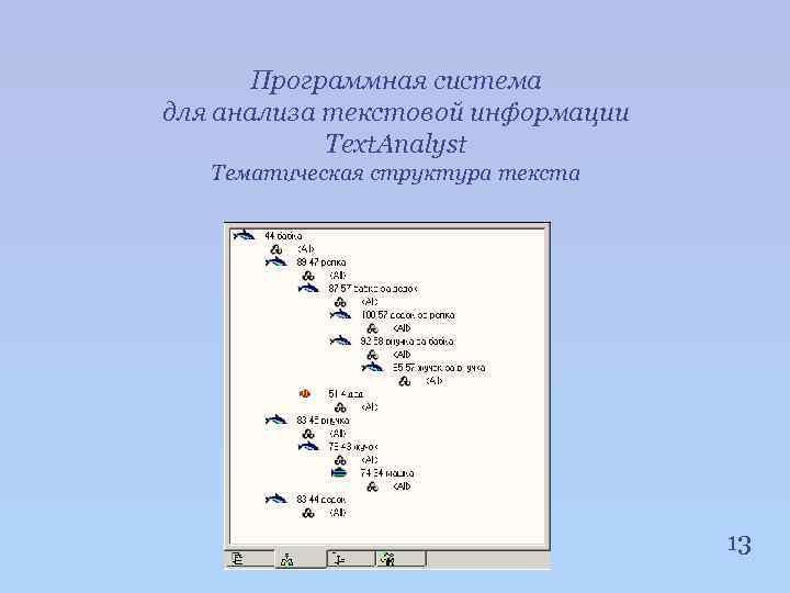 Программная система для анализа текстовой информации Text. Analyst Тематическая структура текста 13