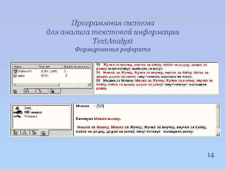 Программная система для анализа текстовой информации Text. Analyst Формирование реферата 14