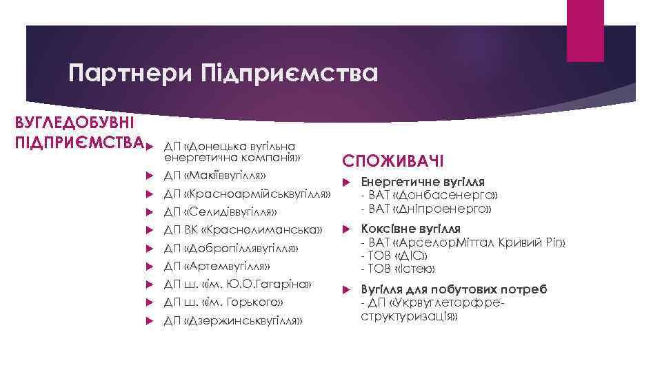 Партнери Підприємства ВУГЛЕДОБУВНІ ПІДПРИЄМСТВА ДП «Донецька вугільна енергетична компанія» ДП «Макіїввугілля» ДП «Красноармійськвугілля» ДП
