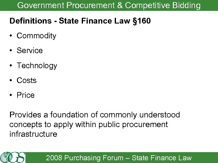 Government Procurement & Competitive Bidding Definitions - State Finance Law § 160 • Commodity