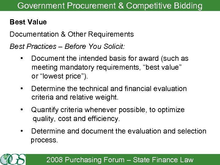 Government Procurement & Competitive Bidding Best Value Documentation & Other Requirements Best Practices –