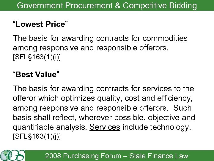 """Government Procurement & Competitive Bidding """"Lowest Price"""" The basis for awarding contracts for commodities"""