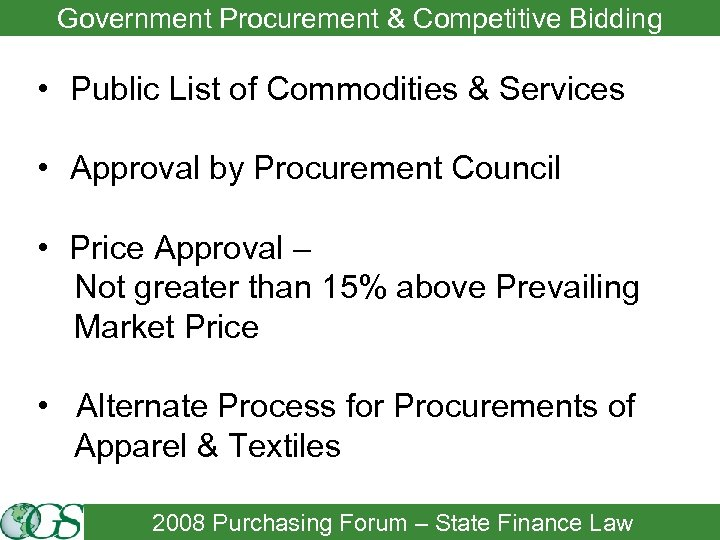 Government Procurement & Competitive Bidding • Public List of Commodities & Services • Approval
