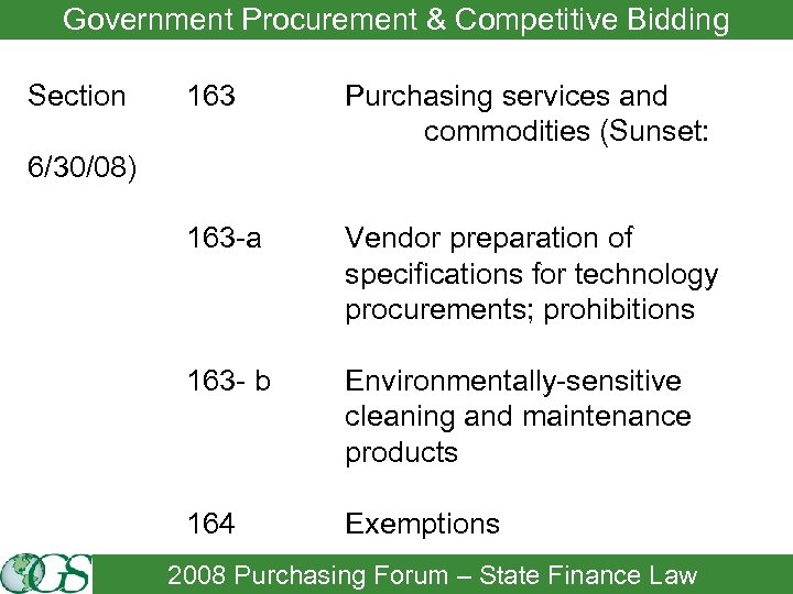 Government Procurement & Competitive Bidding Section 163 Purchasing services and commodities (Sunset: 163 -a