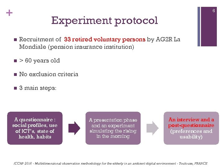 + 6 Experiment protocol n Recruitment of 33 retired voluntary persons by AG 2
