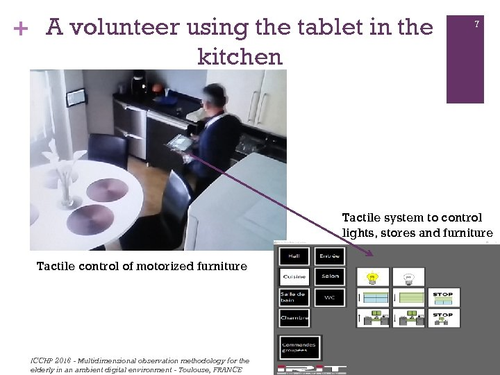 + A volunteer using the tablet in the kitchen 7 Tactile system to control