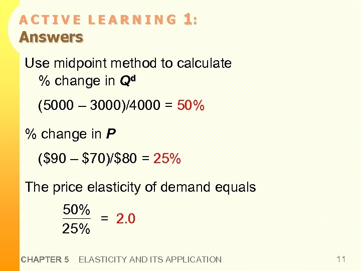 ACTIVE LEARNING Answers 1: Use midpoint method to calculate % change in Qd (5000