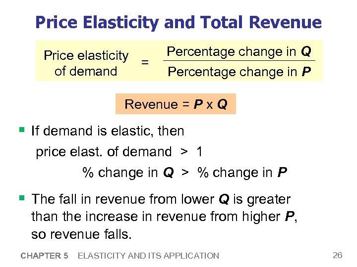 Price Elasticity and Total Revenue Price elasticity = of demand Percentage change in Q