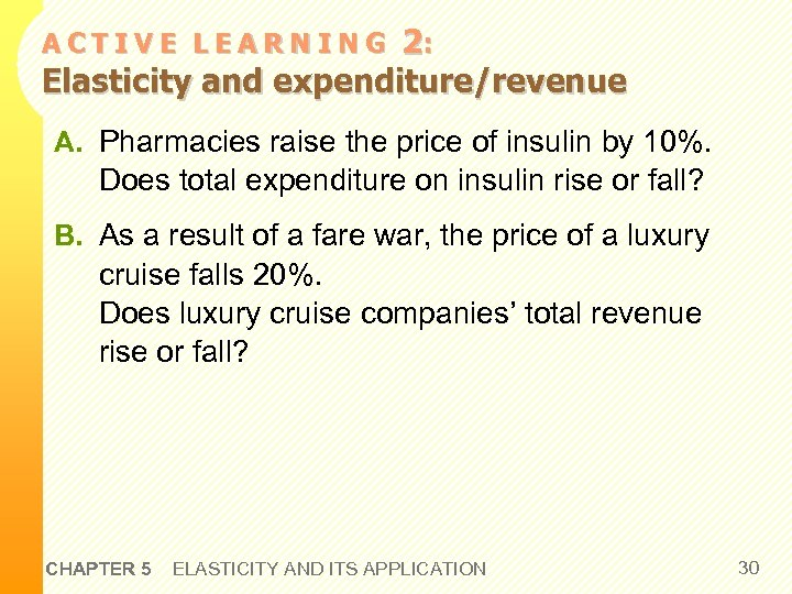 2: Elasticity and expenditure/revenue ACTIVE LEARNING A. Pharmacies raise the price of insulin by