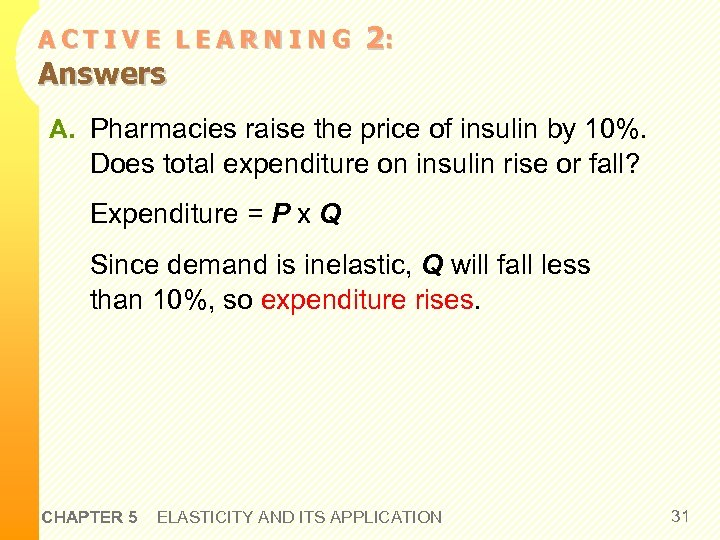 ACTIVE LEARNING Answers 2: A. Pharmacies raise the price of insulin by 10%. Does