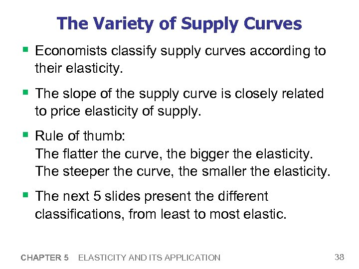 The Variety of Supply Curves § Economists classify supply curves according to their elasticity.