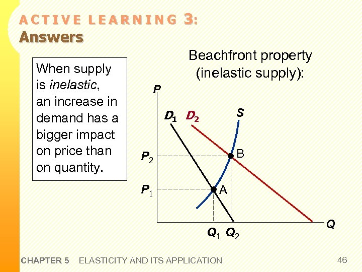 ACTIVE LEARNING Answers When supply is inelastic, an increase in demand has a bigger