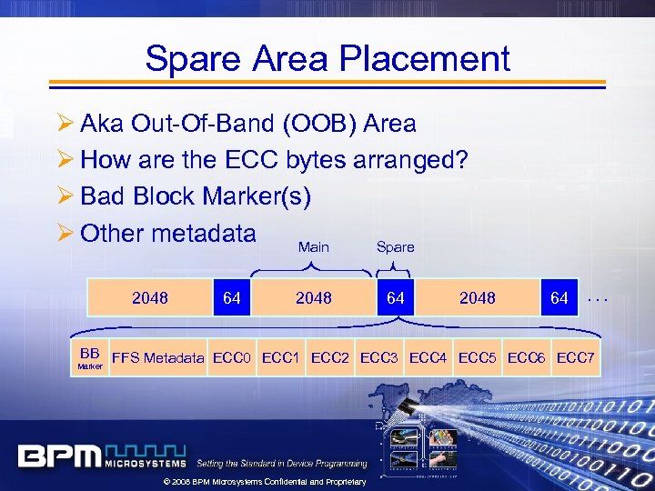 Spare Area Placement Ø Aka Out-Of-Band (OOB) Area Ø How are the ECC bytes