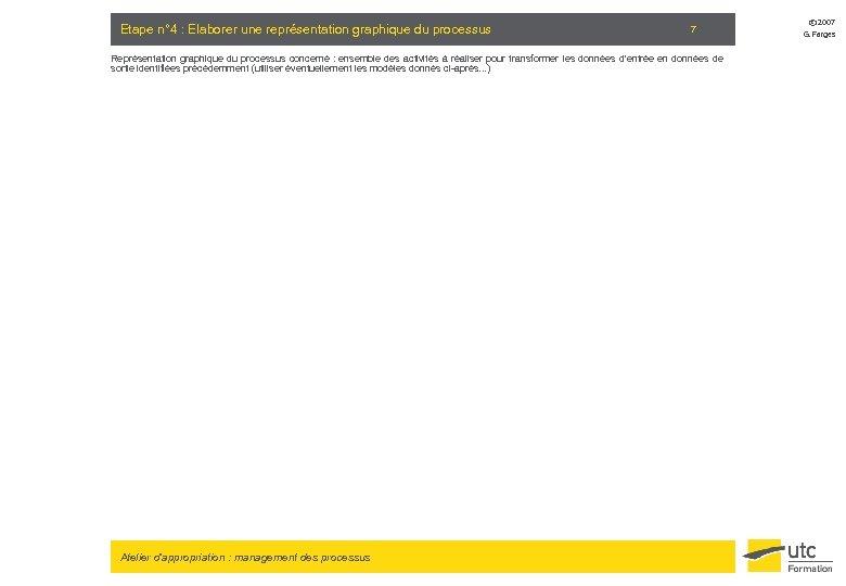 Etape n° 4 : Elaborer une représentation graphique du processus 7 Représentation graphique du