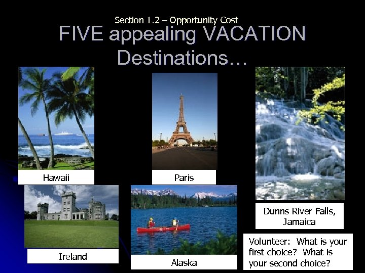 Section 1. 2 – Opportunity Cost FIVE appealing VACATION Destinations… Hawaii Paris Dunns River