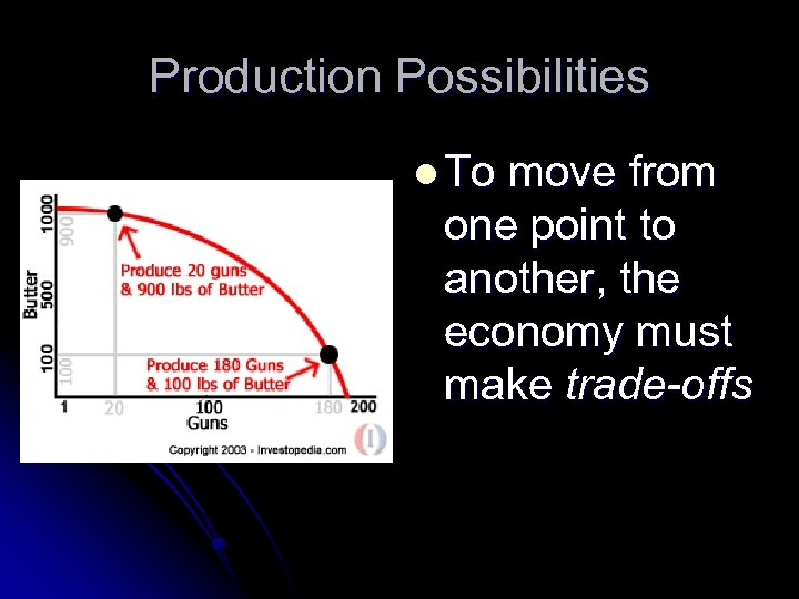 Production Possibilities l To move from one point to another, the economy must make